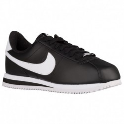 Womens Nike Cortez Leather White Silver Nike Cortez - Men's Black/Metallic Silver/White | Leather