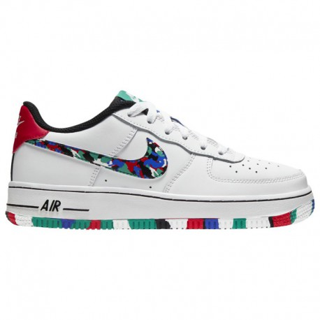 Nike Air Force 1 Low Color Nike Air Force 1 Low - Boys' Grade School White/Multi Color/Hyper Blue | Melted Crayon